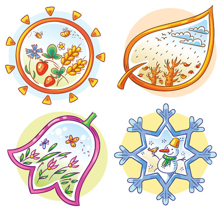 strawberry cartoon: The four seasons in cartoon hand drawn pictures, Vector