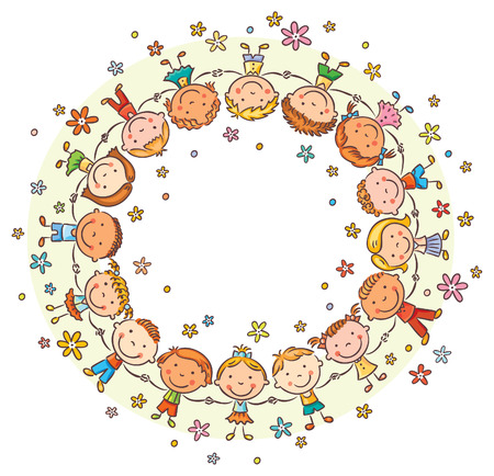 Happy kids in a circle holding hands, frame with a copy space
