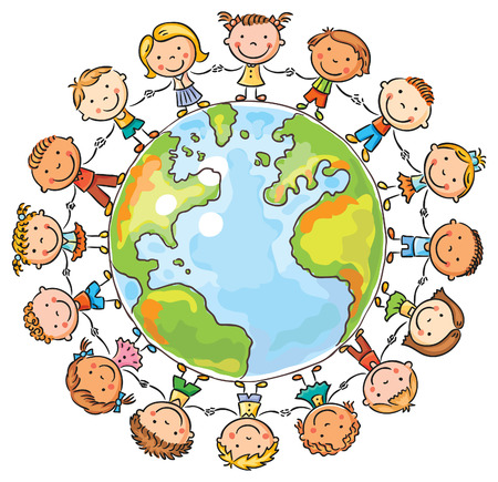 communication cartoon: Happy cartoon children round the Globe as a symbol of peace or global communication Illustration