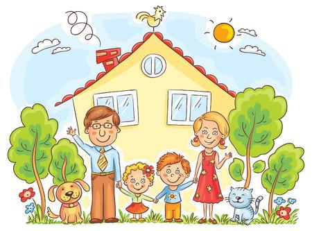 dessin enfants: famille heureuse de bande dessin�e avec deux enfants et des animaux pr�s de leur maison avec un jardin, pas de gradients