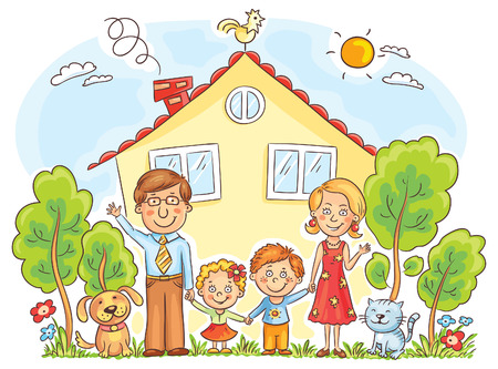 child smiling: happy cartoon family with two children and pets near their house with a garden, no gradients