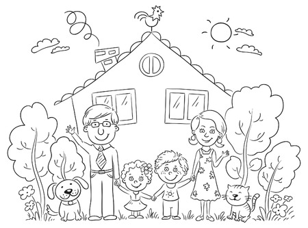 rural house: Happy cartoon family with two children and pets near their house with a garden, black and white Illustration