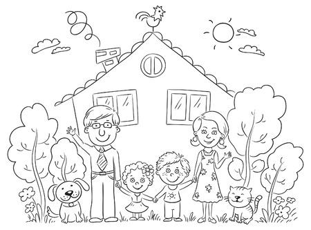 La familia feliz de dibujos animados con dos niños y animales domésticos cerca de su casa con un jardín, en blanco y negro