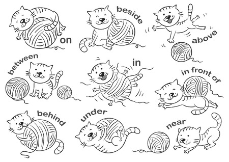 Cartoon cat in different poses to illustrate the prepositions of place, black and white Иллюстрация