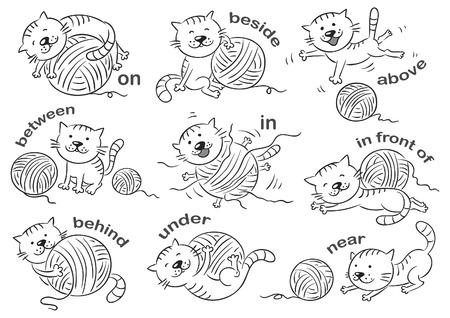 Cartoon kat in verschillende poses aan de voorzetsels van plaats te illustreren, zwart en wit Stock Illustratie