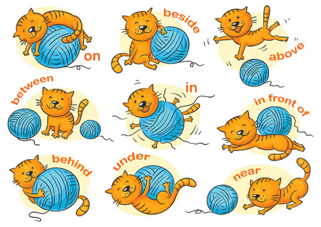 ball cartoon: Cartoon cat in different poses to illustrate the prepositions of place, no gradients