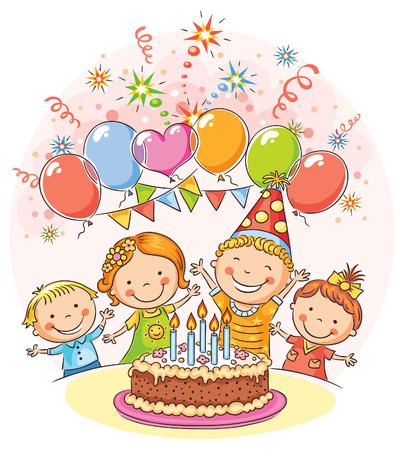 Bambini festa di compleanno con una grande torta e palloncini colorati, non gradienti Archivio Fotografico - 38735761