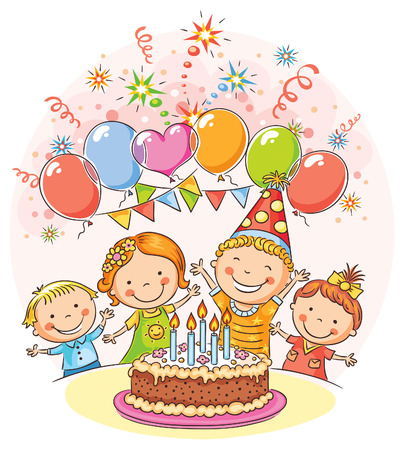 Kids birthday party with a big cake and colorful balloons, no gradients