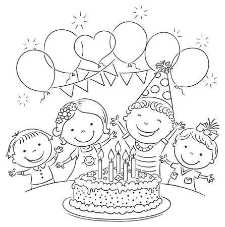 outlines: Kids birthday party with a big cake and colorful balloons, black and white outline Illustration
