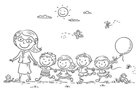 teachers: Cartoon kids and their teacher on a walk in the kindergarten, black and white outline