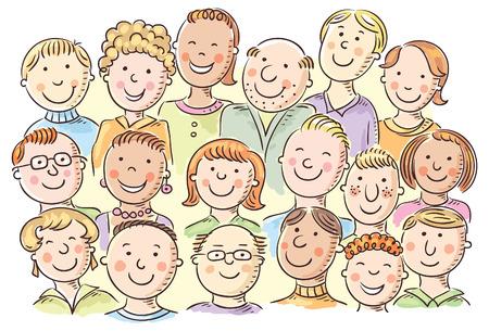 carita feliz caricatura: Un grupo de personas diferentes incompleto, no hay gradientes