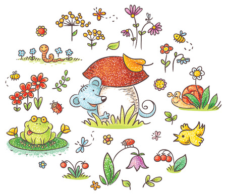Hand drawn flowers, insects and animals for kids designs, no gradients
