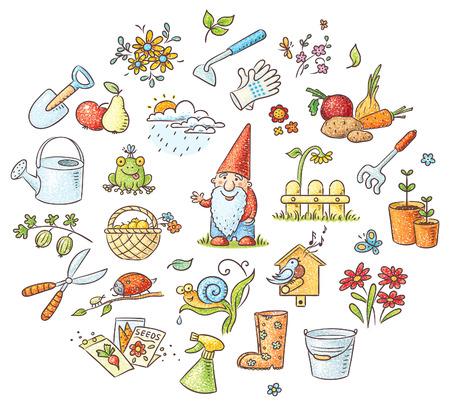 meteo: Set di cartone animato di giardinaggio strumenti, piante e animali, frutta e verdura, non gradienti
