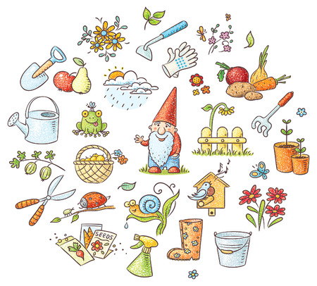gnome: Set of cartoon gardening tools, plants and animals, fruit and vegetables, no gradients