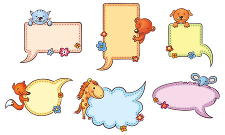 Colorful speech bubble set with cartoon animals and copy space, no gradients Vector