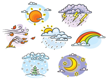 Cartoon wSet of cartoon weather illustrations, hand drawn, colorful, no gradientseather set Vector