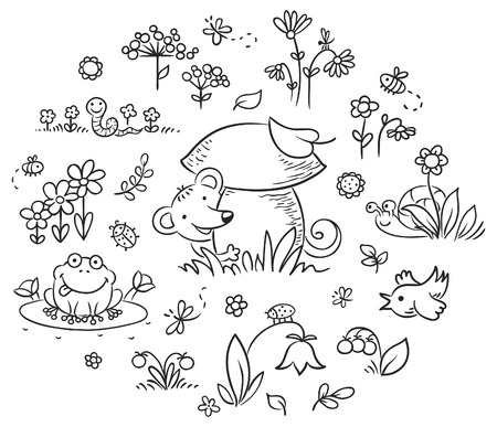 flowers cartoon: Hand drawn flowers, insects and animals for kids designs, black and white outline