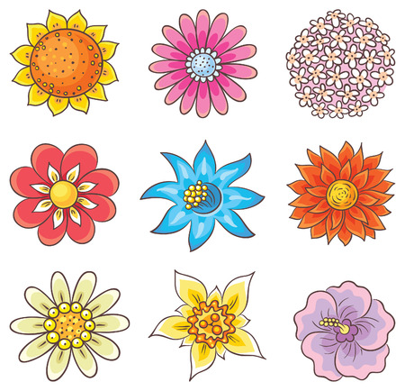 Isolated cartoon hand drawn flowers of different kinds, no gradients Illustration