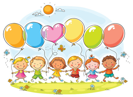 コピー スペース、グラデーションが付いている気球の屋外で幸せな子供たち
