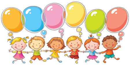 niños con pancarta: Felices los niños con las burbujas del discurso con copia espacio, no degradados, aislados en blanco