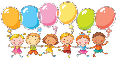 Happy kids with speech bubbles with copy space, no gradients, isolated on white