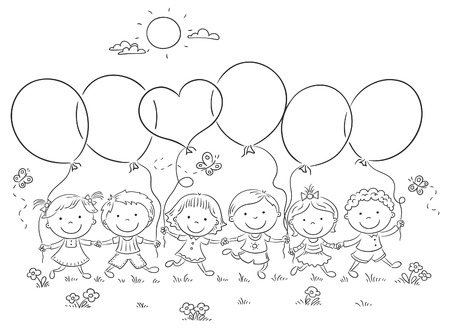 Happy kids outdoors with balloons with copy space, black and white outline Illustration