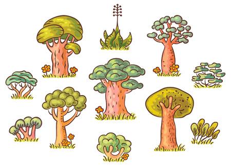 かわいい漫画の木セット、手描き、グラデーション