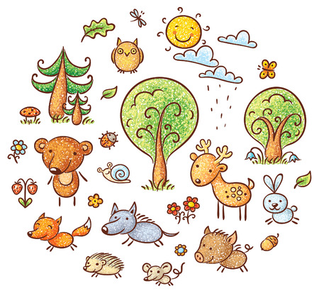 hedgehog: Set of cartoon forest animals and plants