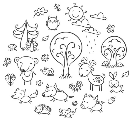 animales salvajes: Conjunto de animales y plantas del bosque de la historieta, esquema blanco y negro Vectores