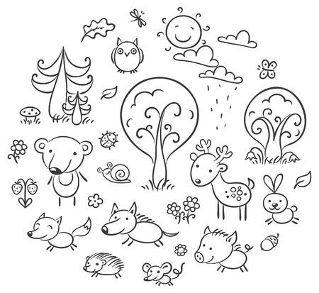 animaux zoo: Ensemble de dessin anim� animaux et de plantes foresti�res, contour noir et blanc