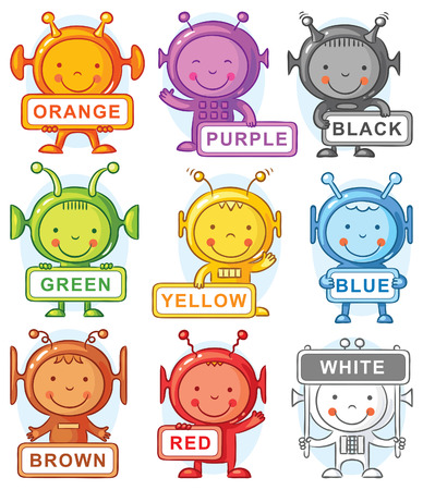 Cartoon aliens with color signs, may be used as teaching aid for language learning, no gradients