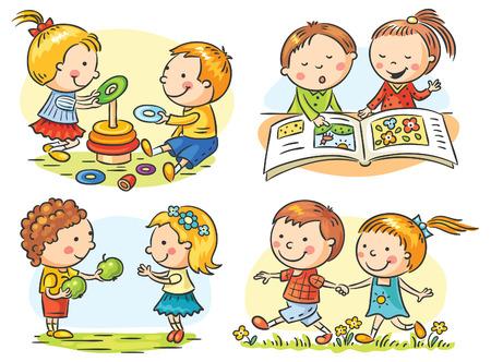 persona leyendo: Conjunto de cuatro ilustraciones de dibujos animados con la comunicación y las actividades de los comunes de los niños, no hay gradientes