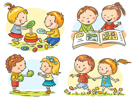 Set of four cartoon illustrations with kids' communication and common activities, no gradients