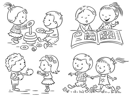 black outline: Set of four cartoon illustrations of kids communication and common activities, black and white outline