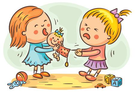 二人の少女は人形のためプレイルームで戦っています。