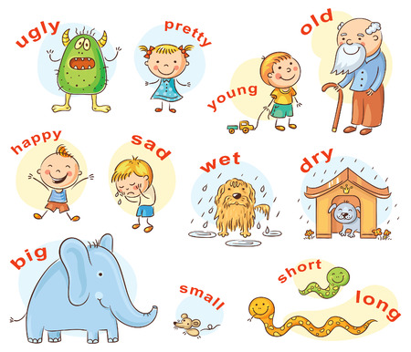 漫画のキャラクターの対義語の形容詞を示す、外国語学習の教材としても使えます