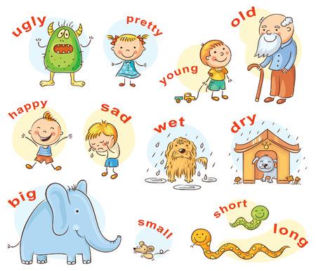 mojada: Personajes de dibujos animados que ilustran adjetivos antónimos, pueden ser utilizados como medio de enseñanza para un aprendizaje de lenguas extranjeras Vectores