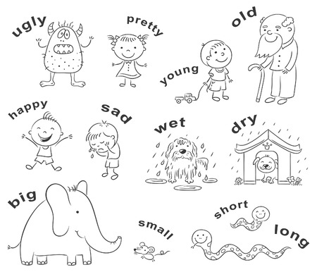 foreign language: Black and white cartoon characters illustrating antonymous adjectives, can be used as a teaching aid for a foreign language learning