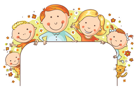 three children: Happy family with three children and a cat with a blank frame Illustration