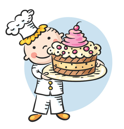 Happy cartoon cook holding a dish with a big cake Vectores