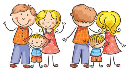 Familia De Dibujos Animados Feliz Con Un Hijo, Ambos Puntos De ...