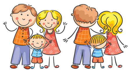 family with one child: Happy cartoon family with one child, both front and rear views, no gradients, isolated