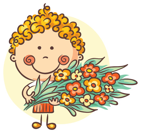 flower sketch: Child holding a big bouquet of flowers