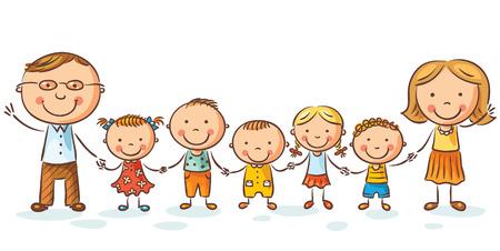 familj: Lycklig familj med många barn, kan antas, isolerad på vitt