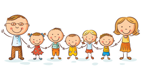 Happy family with many children, may be adopted, isolated on white Illustration