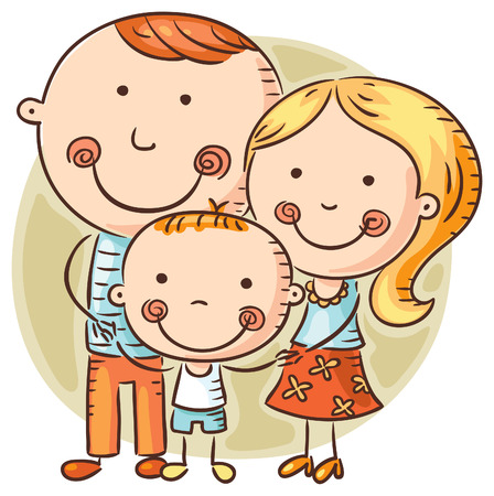 one child: Happy family with one child, doodle drawing Illustration