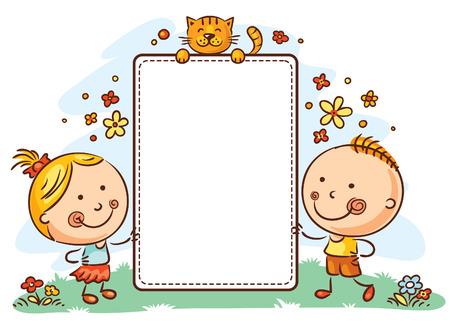 コピー スペース フレームの子どもたち  イラスト・ベクター素材