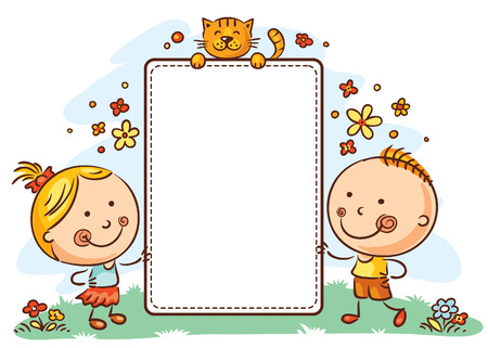 Kids with a frame with copy space Stock Illustratie