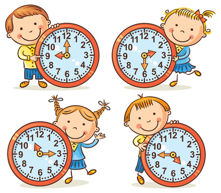 Tiempo: Pequeños niños de dibujos animados contando tiempo establecido