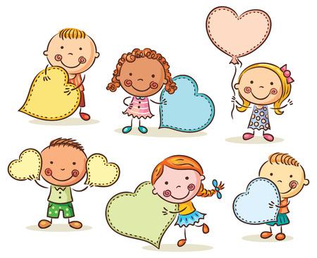 Wenig Cartoon Kinder mit leeren Zeichen in Form von Herzen Standard-Bild - 43924483